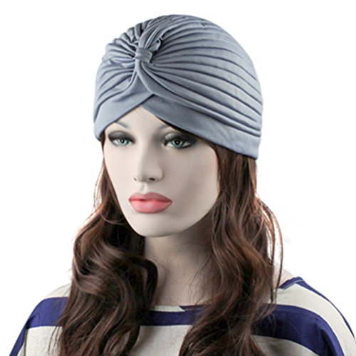 Preliked Womens Stretchy Turban Head Wrap Band Chemo Bandana Hijab Pleated Indian Cap  Gray
