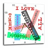 3dRose Alexis Design - Positive - Film Genres titles on color films. I love them all on white - 15x15 Wall Clock (dpp_273743_3)