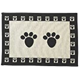 PET RAGEOUS Designed Tapestry Placemat for Pet Feeding Station 13-Inch by 19-Inch Paws Natural/Black