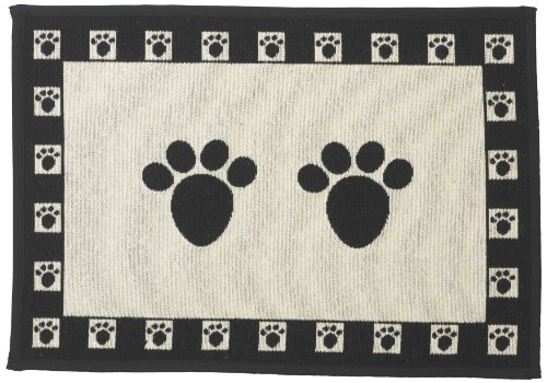 Pet Rageous Designed Tapestry Placemat for Pet Feeding Station, 13-Inch by 19-Inch, Paws, (Home Made Dog Costume)