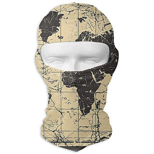 Stazary World Map Old Style Windproof Dustproof Face Mask UV Prevention Hood Hat ()