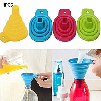 Small Silicone Collapsible Foldable Silicon Kitchen Funnel Hopper Gel Practical