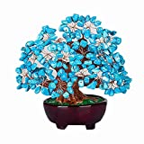 Colorsheng 7 Inch Turquoise Money Tree Bonsai Feng shui Gem Crystal Quartz Decoration for Wealth and Luck