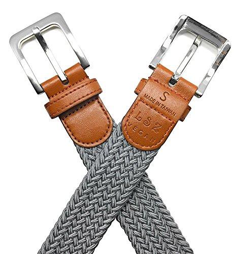Leone StarZ VEGAN Collection - 35mm Unisex Elastic Braided Stretch Belt. Fasten-anywhere belt. Animal-Friendly Materials. Comfy and stylish (Medium, Light Gray) ()
