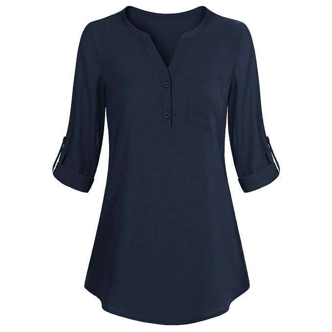 Blusa Hombre Yesmile Camiseta Las Mujeres Camisa de Manga Larga con Cuello en V para Mujeres Camisa de Capas en Capas con Cuello en V Blusas: Amazon.es: ...