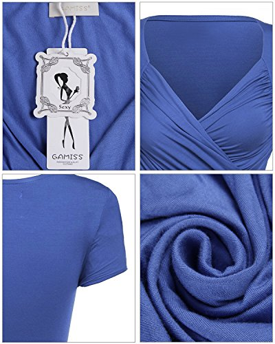 Gamiss Mujer Blusa Camisetas de Mangas Cortas Cuello en V Casual Verano Top T-shirt Deportiva Yoga Azul