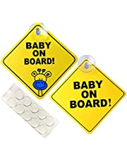 FNIENIC 2PCS Baby on Board Sign for Car with Suction Cup and Nano Traceless Tape, Baby on Board Car Sucker for Baby Safety. Warning Sticker Window Magnet Sign Notice Board. No Fade, Removable