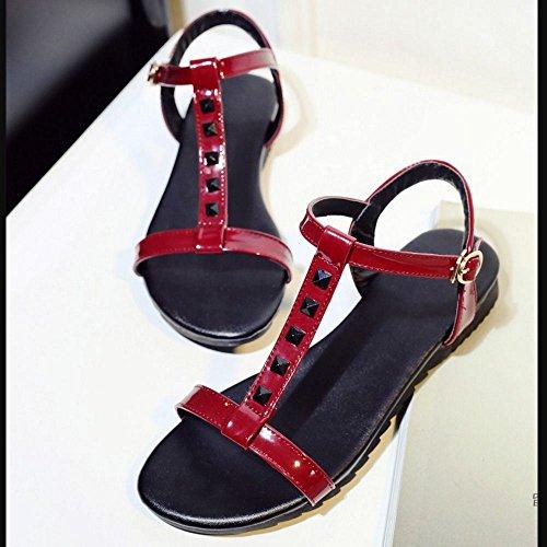 Flat Sandals Girls Classic Red Zanpa Rivets qFtOwznR