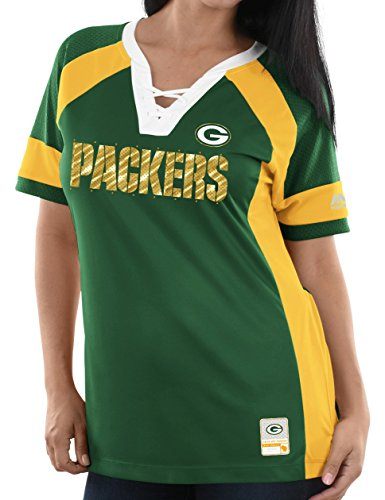 Green Bay Packers Majestic Womens Draft Me Lace-Up Raglan (X-Large)