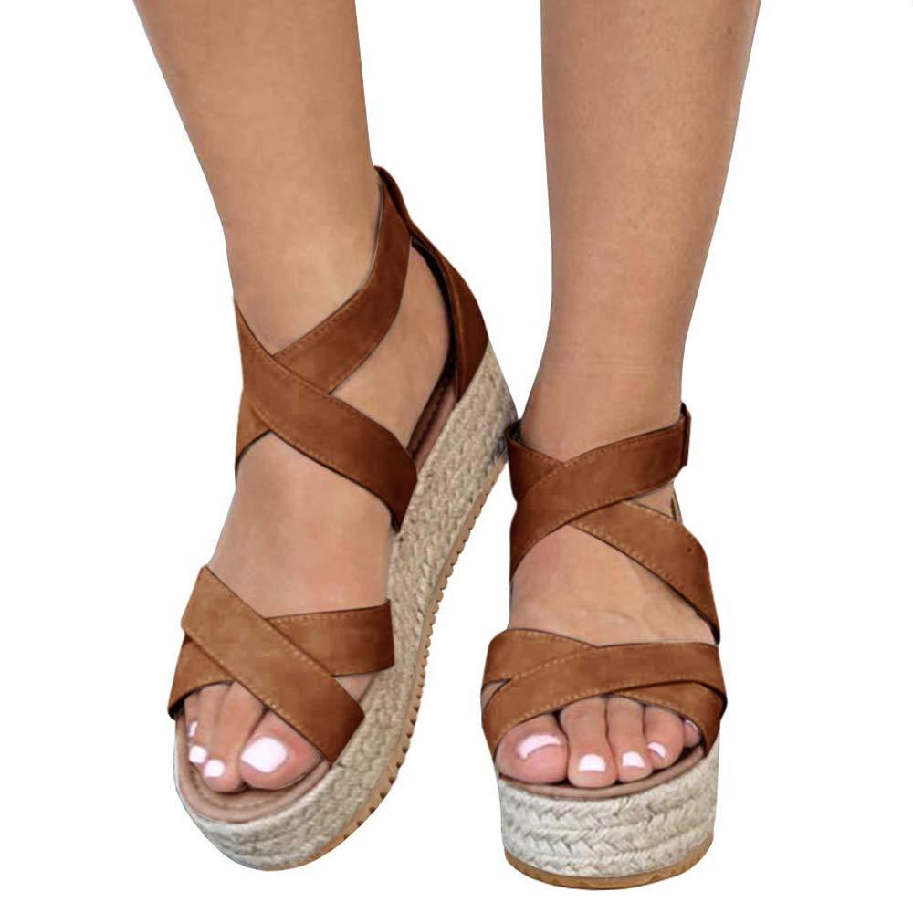 Athlefit Women's Criss Cross Strap Platform Sandals Band Open Toe Ankle Buckle Espadrille Sandals Size 5.5 Black