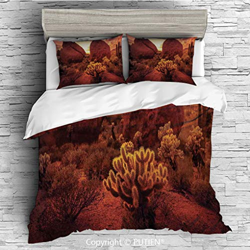 QUEEN Size Cute 3 Piece Duvet Cover Sets Bedding Set Collection [ Saguaro Cactus Decor,Dramatic Desert Scenery Like Burnt by Sun Near Scottsdale Hot Rocks Serene Western Image,Red ] Comforter Cover Se (Scottsdale Queen Comforter)