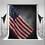 Black Photography Backdrops 5x7ft American Flag Background for July 4th Independence Day Photo Studio (5x7ft)