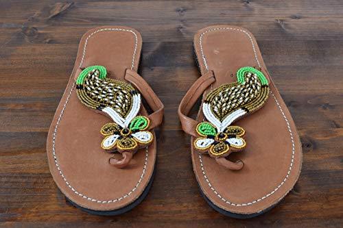 Handmade African Sandals - Leather Flip Flops - Size 6 (37 Europe) Sole length 9.76''/24.8 cm - African Gift - Handcrafted in Kenya - Golden, Green, White, KS02 ()