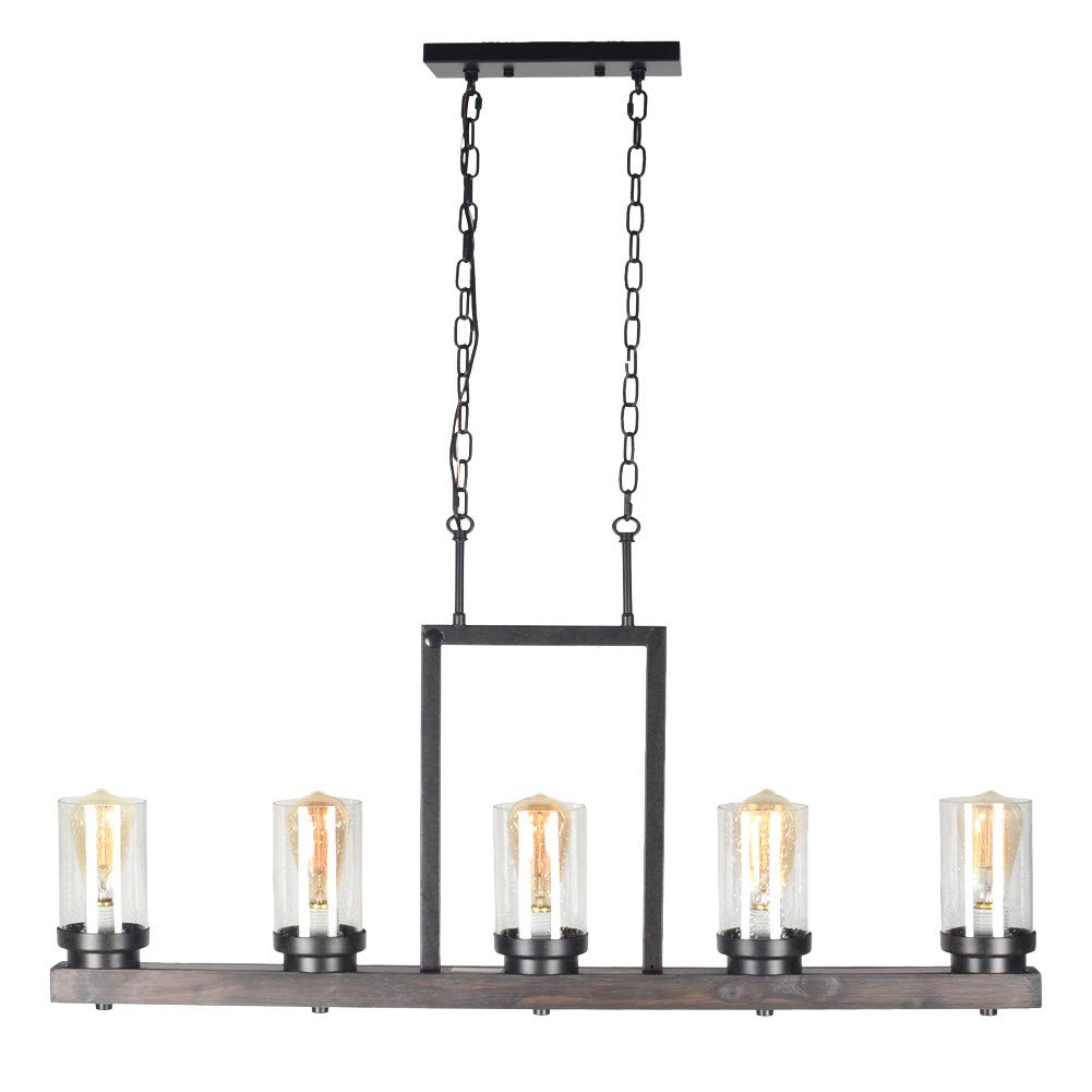 Baiwaiz Farmhouse Kitchen Island Light with Clear Seeded Glass Shade, Metal and Wood Rustic Linear Chandelier Industrial Dining Room Light Fixture 5 Lights Edison E26 095