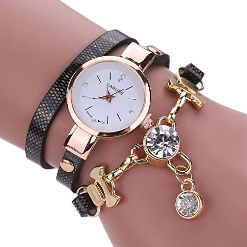 Inkach Women Watches Fashion Women's Ladies Faux Leather Rhinestone Analog Quartz Dress Wrist Watches (Black)