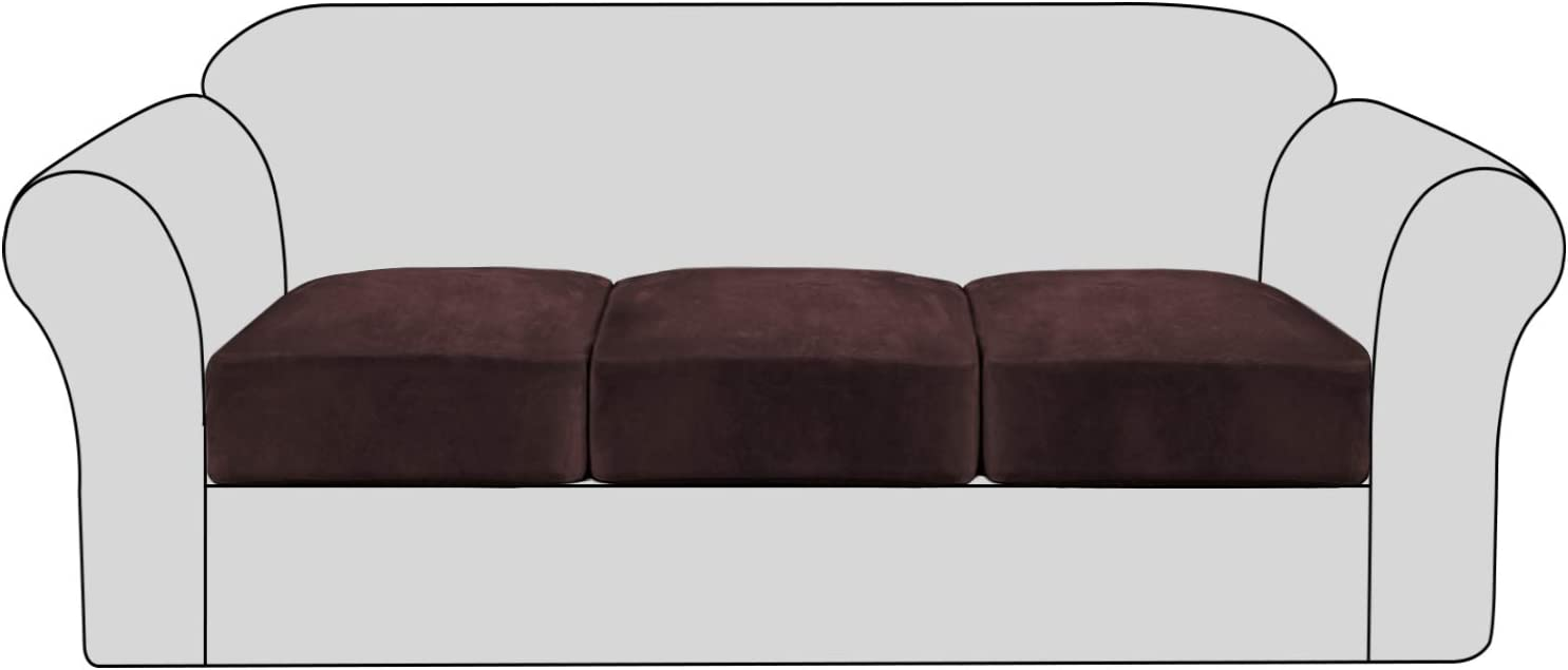 Velvet Stretch Couch Cushion Cover Plush Cushion Slipcover for Chair Loveseat Sofa Cushion Furniture Protector Seat Cushion Sofa Cover with Elastic Bottom Washable (3 Packs, Brown)