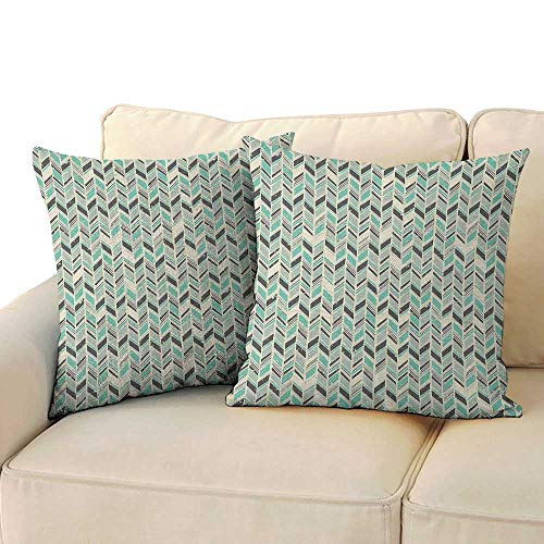 Ediyuneth Decorative Square Accent Pillow Case Chevron,Grunge Herringbone Zigzag Pattern with Stripes and Rectangles Pastel Toned Image, Multicolor 18