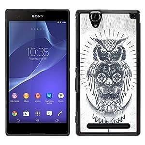 Be-Star Único Patrón Plástico Duro Fundas Cover Cubre Hard Case Cover Para Sony Xperia T2 Ultra ( Skull Owl Grey Pencil White Native )