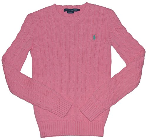 Green Pink Pony (Polo Ralph Lauren Womens Cable Knit Crew Neck Sweater (X-Small, Pink/Green Pony) )