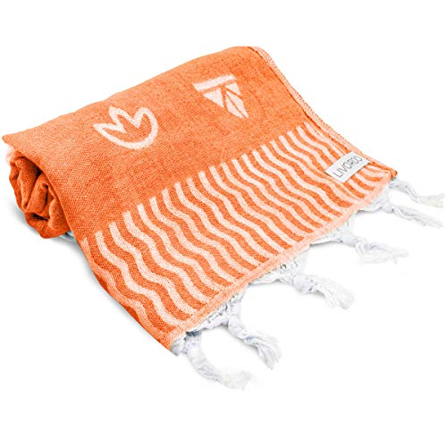 (Livordo Turkish Beach Towel Soft, Absorbent 100% Cotton Made in Turkey Quick Dry Lightweight Bath Sheet, Sarong, Pareo, Wrap, Pestemal, Scarf, Spa, Yoga, Gym, Hiking, Camping(Orange))