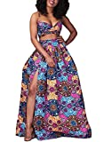 Women's African Floral Printed High Split Printed Dashiki Casual Pleated Maxi Skirt Purple S