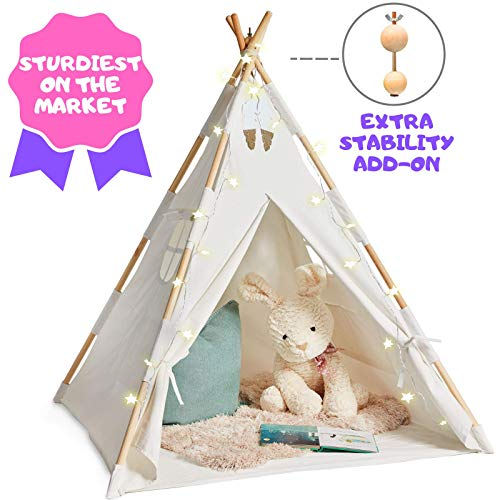 EQOYA Teepee Tent for Kids with Lights