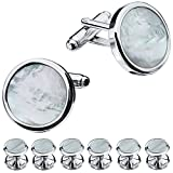 HAWSON Mother of Pearl Man Tuxedo Shirt Studs and Cufflinks Set - Silver Tone Wedding Business