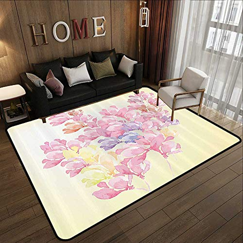Kitchen Rugs,Floral,Spring Bouquet Botanical Buds Petals Nature Essence Fragrance Retro Picture,Baby Pink Light Yellow 71