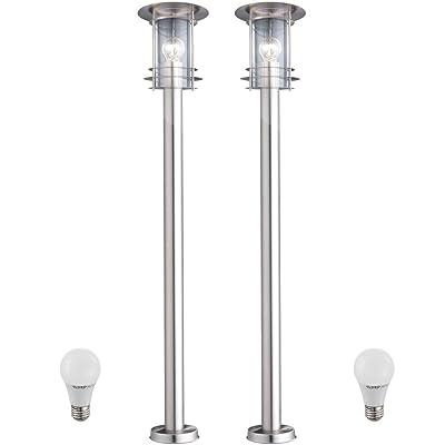 4966906ae1e19d 2 x lampadaire DEL 7 watts luminaire sur pied lampe LED espace extérieur  inox IP44 jardin