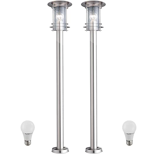 2 X Lampadaire Del 7 Watts Luminaire Sur Pied Lampe Led Espace Exterieur Inox Ip44 Jardin Terrasse