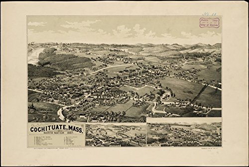 Historic Map | Cochituate, Mass. and North Natick, 1887 | Antique Vintage - Map Mass Of Natick