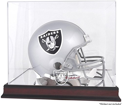 Raiders Logo Display Case - Oakland Raiders Mahogany Helmet Logo Display Case and Mirror Bottom and Back