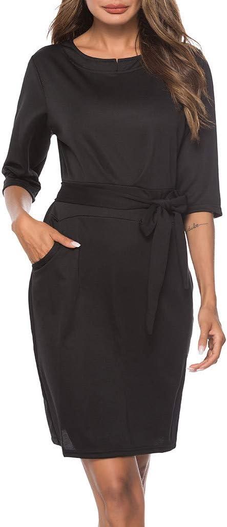 FRAUIT damska sukienka na czas wolny, z paskiem, długość do kolan, sukienka balowa, sukienka na imprezę, do noszenia na co dzień, tunika, tunika, tunika, sukienka, bluzka, z krÓtkim rękawem,