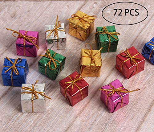 Hapy Shop Christmas Tree Decor 72 Pieces Mini Christmas Ornaments Foam Gift Box Shiny Metallic Wrapped Miniature Package Ornaments for Xmas Tree, Assorted Colors (Box Gift Ornaments)