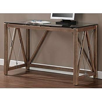 Charmant Desk / Computer Desk , Rustic Style, Weathered Grey Oak Glass Top Cable Desk  8573D