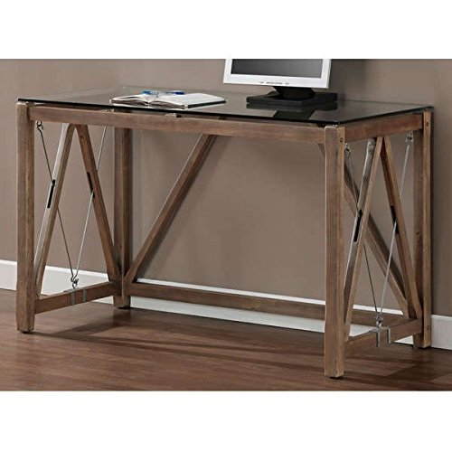 Desk / Computer Desk , Rustic Style, Weathered Grey Oak Glass Top Cable Desk 8573D, Assembly Required (30'' H x 48'' W x 22'' D) by I Love Living