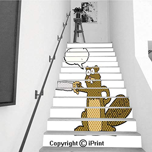 - baihemiya stickers 13Pcs Stair Sticker Decals 3D Creative Building Stair Risers Tiles Wallpaper Mural Self-Adhesive,Comic Book Speech Bubble Cartoon Beaver with Saw