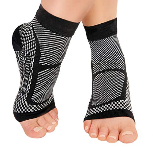 Ankle Brace Compression Sleeve – Relieves Achilles Tendonitis Joint Pain Plantar Fasciitis Foot Sock with Arch Support Reduces Swelling & Size Fits Most for Men & Women (Black, S/M)