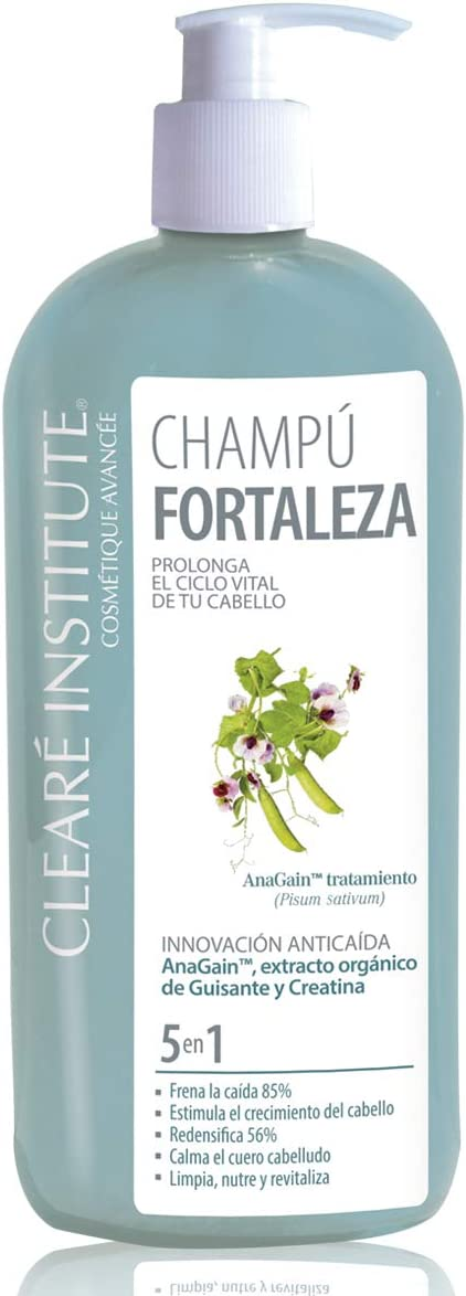 Cleare Institute Champú Fortaleza Anticaída - Limpia, Nutre Y Fortalece. Frena La Caída Y Estimula El Crecimiento   97% Ingredientes Naturales, 400 ...