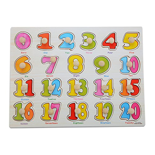Moonvvin Classic Wooden Puzzle - 21 Pcs (0 to 20) Math Learning Activity Set for Kids 3 and Up - Wooden Peg Puzzle Educational Board Game ()
