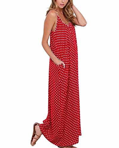 V Col Lace Maxi Zanzea Robe Party Longue Manches de Bretelle Femme Boho sans Plage Cocktail Sexy Rouge vxYnY0qX
