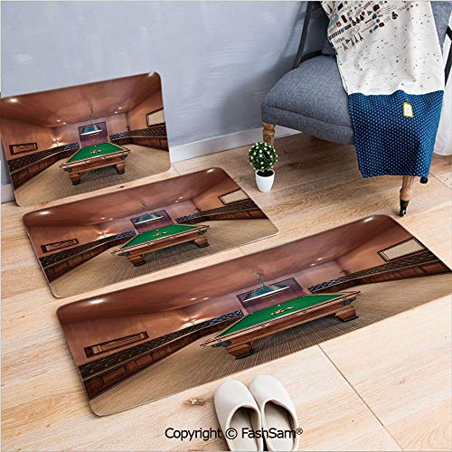 FashSam 3 Piece Flannel Bath Carpet Non Slip Entertainment Room in Mansion Pool Table Billiard Lifestyle Photo Print Front Door Mats Rugs for Home(W15.7xL23.6 by W19.6xL31.5 by W17.7xL53)