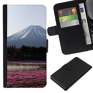 Ver Flores Bosque Campo- la tarjeta de Crédito Slots PU Funda de cuero Monedero caso cubierta de piel Para Sony Xperia Z3 Plus / Z3+ / Sony E6553 (Not Z3)