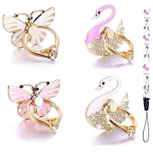 4 Pack Phone Ring Stand, Diamond Bling Butterfly Cell Phone Kickstand Grip, 360 Rotation Universal Multi Angle Metal Phone Ring Holder (2 Butterfly, 2 Swan, 1 ()