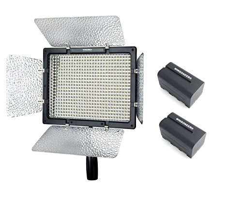 Yongnuo YN-600L II YN600L II Pro LED Video Light 5500K Color Temperature for Canon Nikon DSLR Camera DV and Camcorder with 2PCS WINGONEER NP-F770 Battery and Battery Charger by Yongnuo