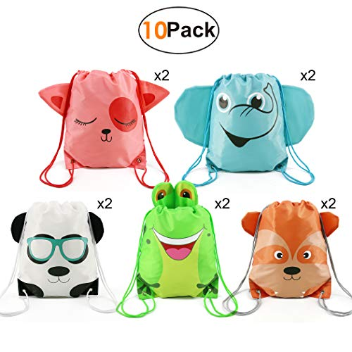 Kids-Party-Supplies-Favors-Bags Drawstring Backpack String Bag for Girls Boys Birthday Gift Favor 10 Pack 5 Animals Designs Candy Goodie Treat Bags -