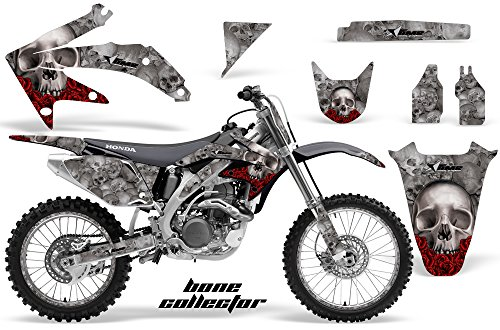 AMR Racing MX Dirt Bike Graphic Kit Sticker Decals with Number Plates Compatible with Honda CRF450R 2005-2008 - Bone Collector Silver