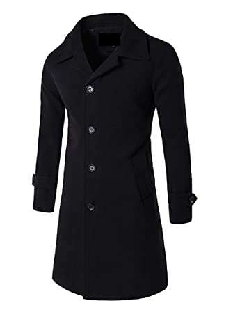 Papijam Mens Wool Slim Fit Single Breasted Long Trench Jacket Pea ...