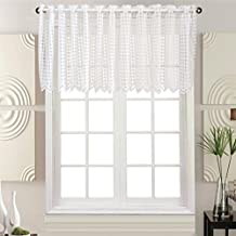 ZHH Lace Check Plaid Window Valance Square Lattice Cafe Curtain, White, W59-Inch by H17-Inch