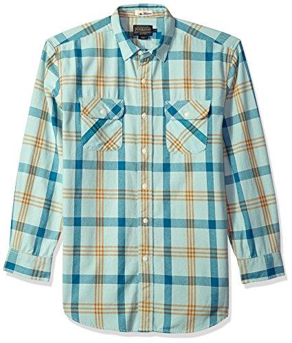 Pendleton Men's Long Sleeve Beach Shack Twill Shirt, Aqua/Turquoise Plaid, (Shack Green)